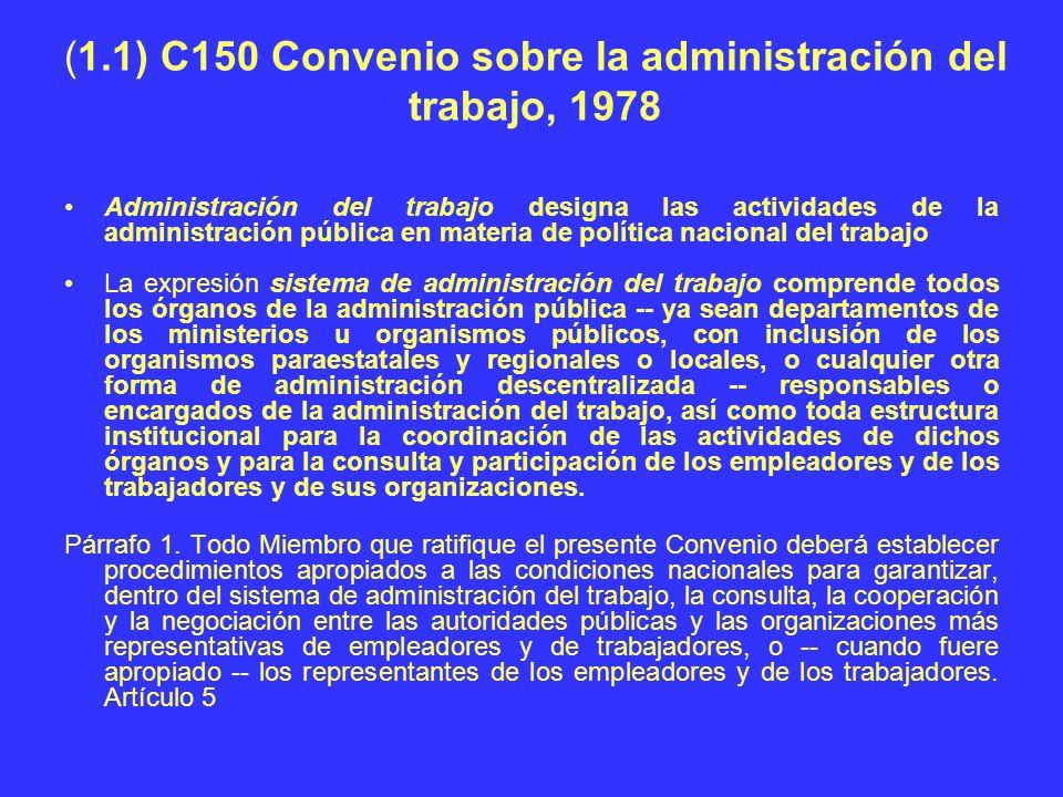 (1.1) C150 Convenio sobre la administración del trabajo, 1978 Administración del trabajo designa las actividades de la administración pública en mater