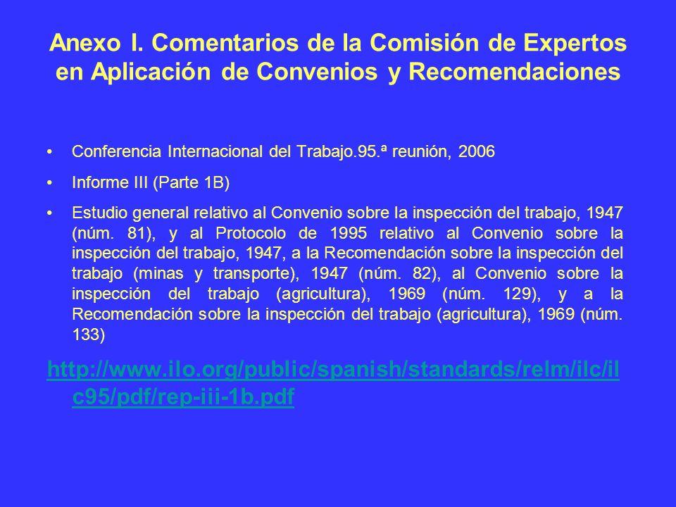 Anexo I. Comentarios de la Comisión de Expertos en Aplicación de Convenios y Recomendaciones Conferencia Internacional del Trabajo.95.ª reunión, 2006