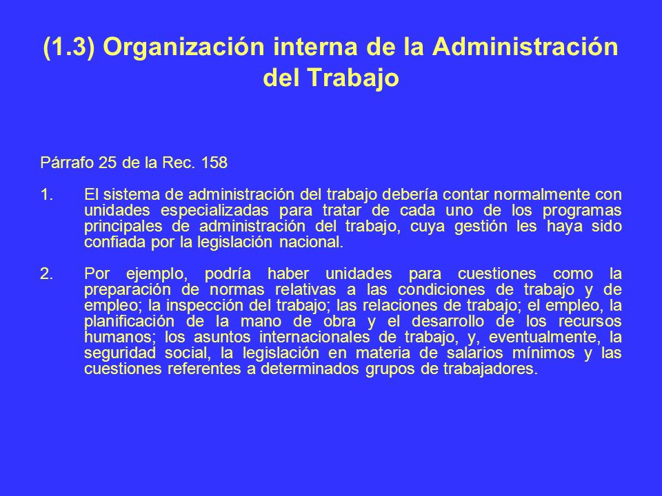 (1.3) Organización interna de la Administración del Trabajo Párrafo 25 de la Rec. 158 1.El sistema de administración del trabajo debería contar normal