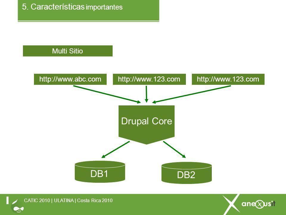 5. Características importantes CATIC 2010 | ULATINA | Costa Rica 2010 Multi Sitio http://www.abc.comhttp://www.123.com DB1 DB2 Drupal Core