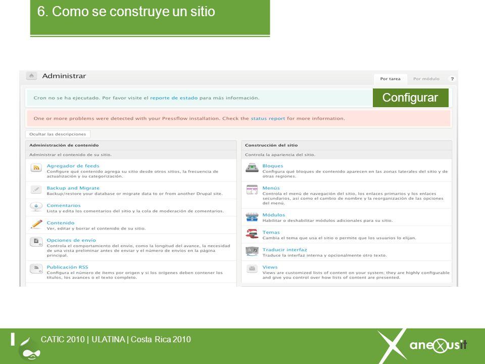 6. Como se construye un sitio CATIC 2010 | ULATINA | Costa Rica 2010 Configurar