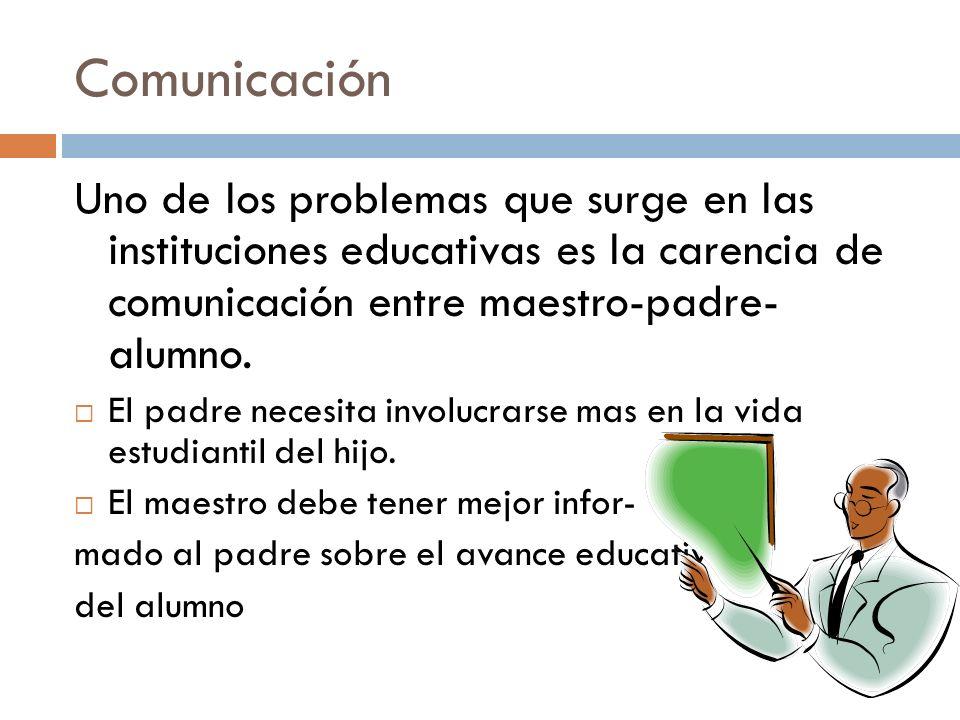 Comunicación Uno de los problemas que surge en las instituciones educativas es la carencia de comunicación entre maestro-padre- alumno. El padre neces