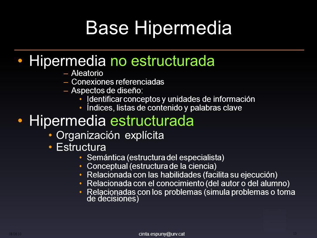 cinta.espuny@urv.cat 08/06/10 10 Base Hipermedia Hipermedia no estructurada –Aleatorio –Conexiones referenciadas –Aspectos de diseño: Identificar conc