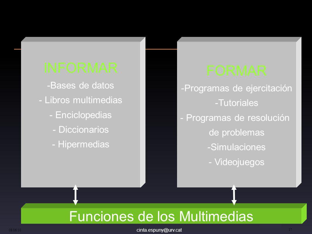 cinta.espuny@urv.cat 08/06/10 17 FORMAR -Programas de ejercitación -Tutoriales - Programas de resolución de problemas -Simulaciones - Videojuegos INFO