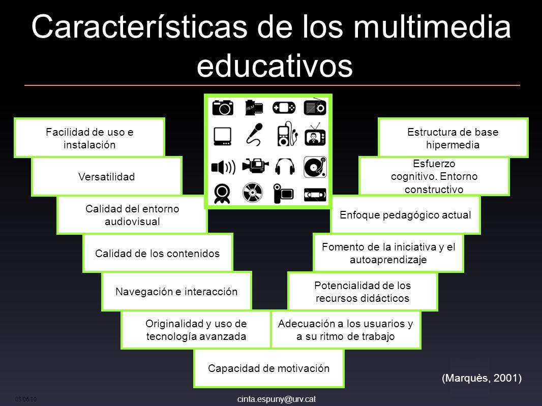 cinta.espuny@urv.cat 08/06/10 Características de los multimedia educativos (Marquès, 2001) Facilidad de uso e instalación Versatilidad Calidad del ent