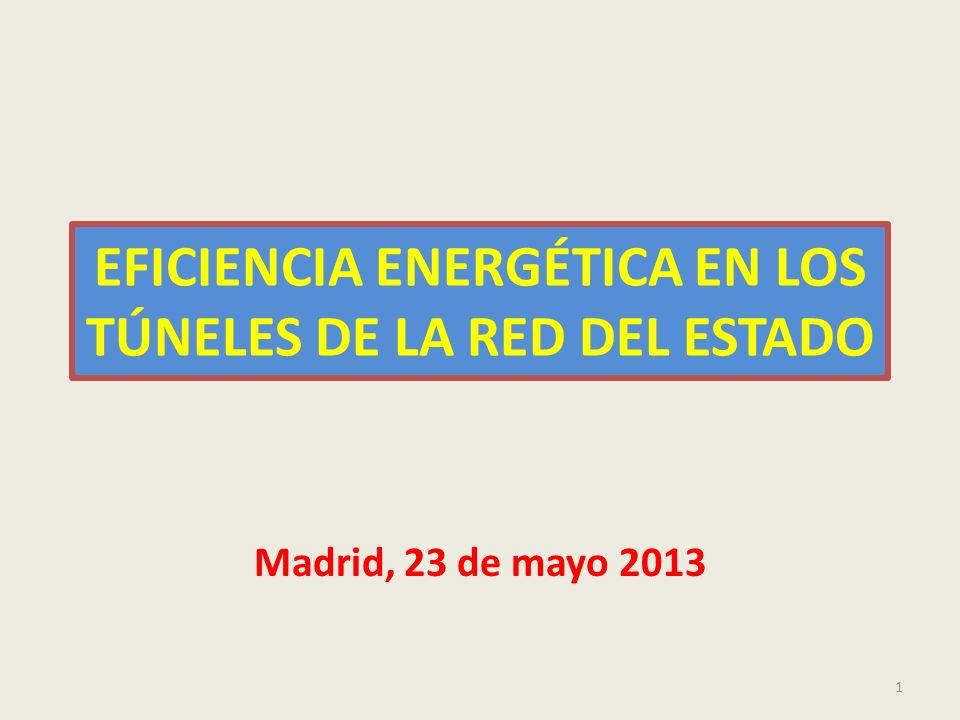 EFICIENCIA ENERGÉTICA EN TÚNELES 2 SITUACIÓN ACTUAL DEL CONSUMO ENERGÉTICO FACTURACIÓN TOTAL ACTUAL DE ENERGÍA EN LA DIRECCIÓN GENERAL DE CARRETERAS : 130 MILLONES DE KWh Y FACTURACIÓN DE 24 MILLONES DE EUROS FACTURACIÓN ACTUAL EN TÚNELES : 13,3 MILLONES DE EUROS 192 TÚNELES