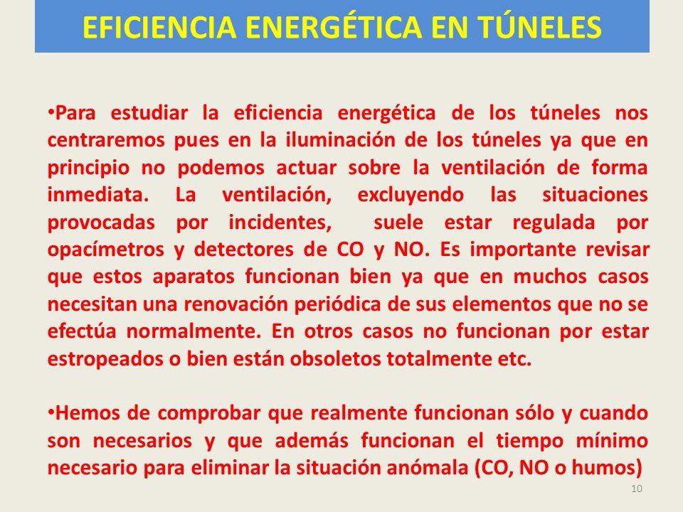 EFICIENCIA ENERGÉTICA EN TÚNELES 10 Para estudiar la eficiencia energética de los túneles nos centraremos pues en la iluminación de los túneles ya que