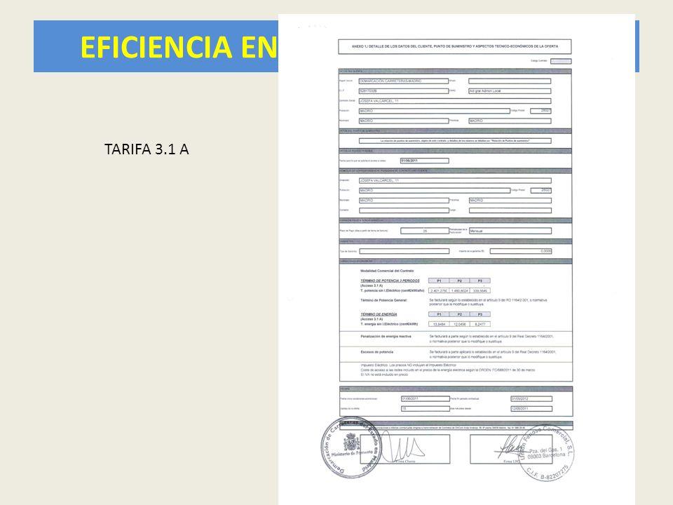 EFICIENCIA ENERGÉTICA EN TÚNELES 12 TARIFA 3.1 A