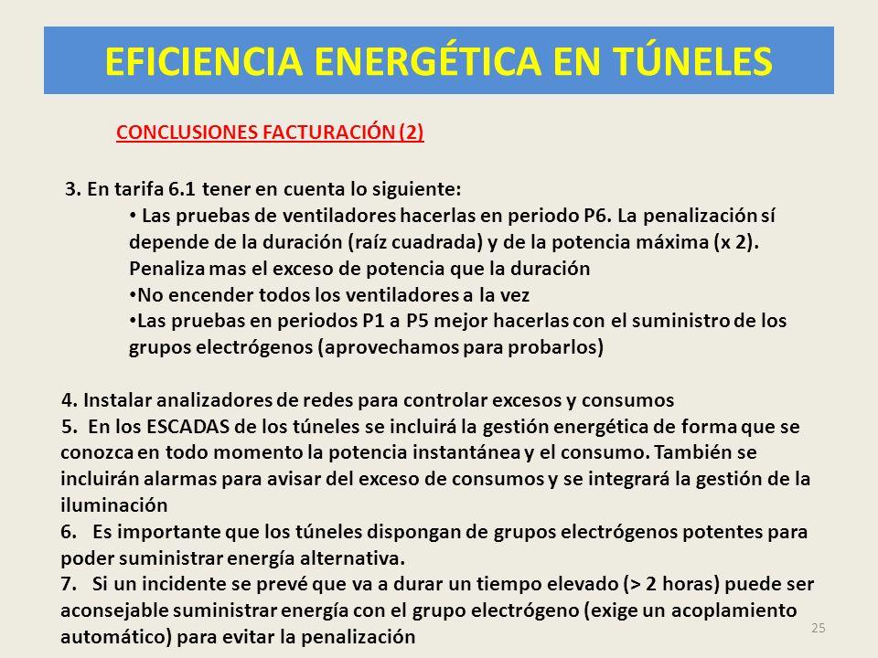 EFICIENCIA ENERGÉTICA EN TÚNELES 25 CONCLUSIONES FACTURACIÓN (2) 3. En tarifa 6.1 tener en cuenta lo siguiente: Las pruebas de ventiladores hacerlas e
