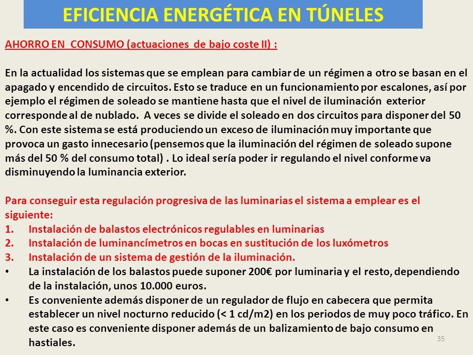 EFICIENCIA ENERGÉTICA EN TÚNELES 35 AHORRO EN CONSUMO (actuaciones de bajo coste II) : En la actualidad los sistemas que se emplean para cambiar de un