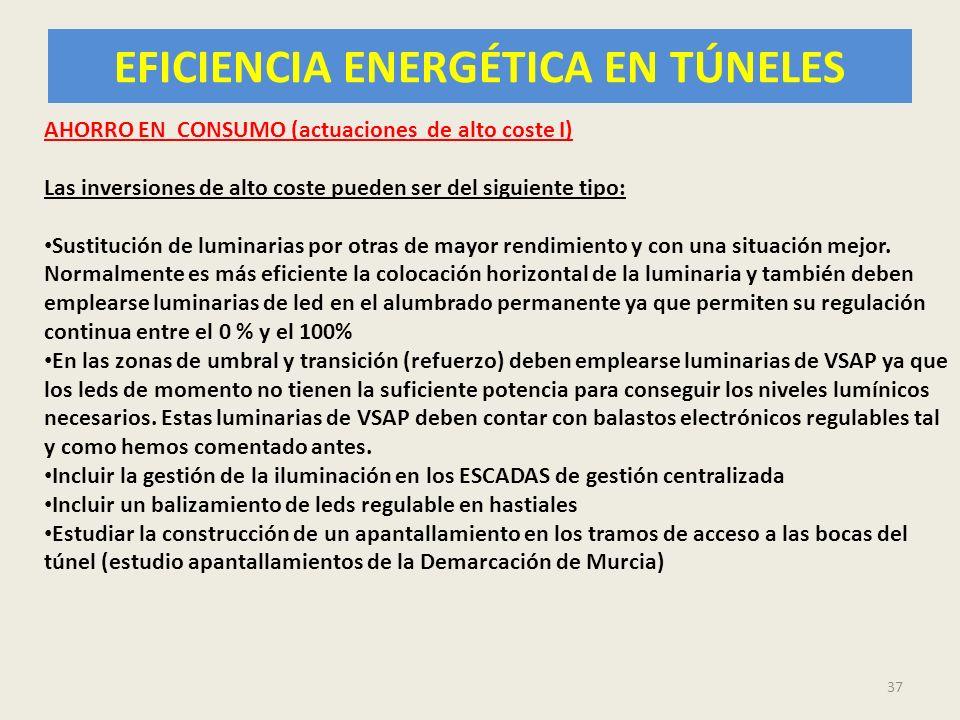 EFICIENCIA ENERGÉTICA EN TÚNELES 37 AHORRO EN CONSUMO (actuaciones de alto coste I) Las inversiones de alto coste pueden ser del siguiente tipo: Susti