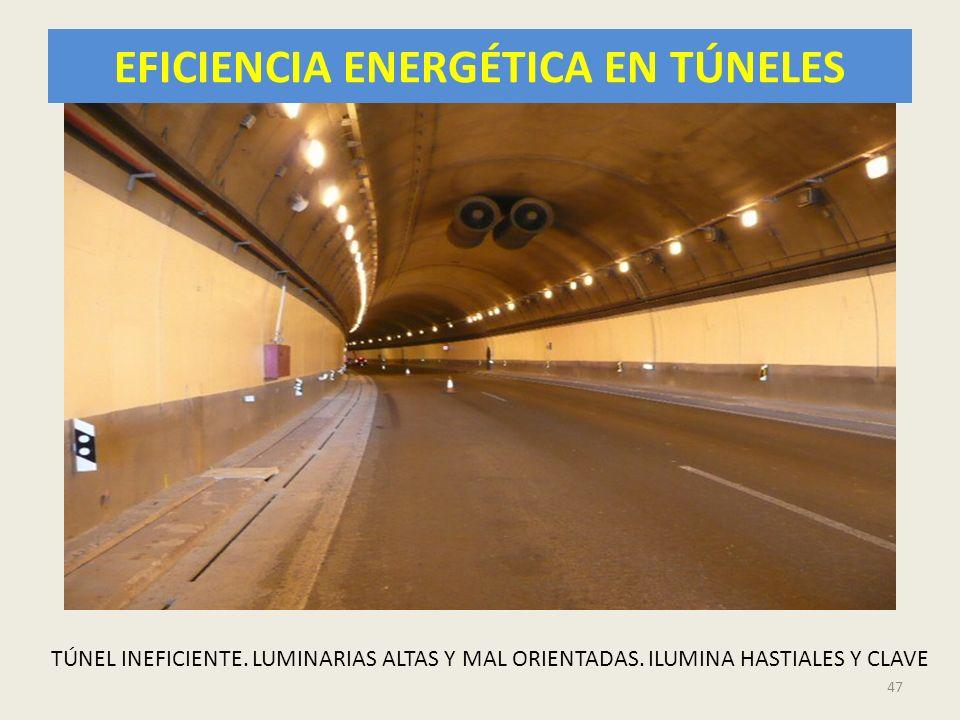 EFICIENCIA ENERGÉTICA EN TÚNELES 47 TÚNEL INEFICIENTE. LUMINARIAS ALTAS Y MAL ORIENTADAS. ILUMINA HASTIALES Y CLAVE