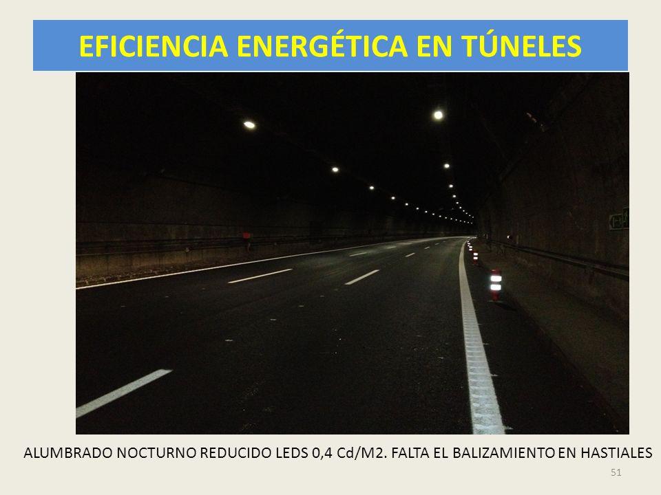EFICIENCIA ENERGÉTICA EN TÚNELES 51 ALUMBRADO NOCTURNO REDUCIDO LEDS 0,4 Cd/M2. FALTA EL BALIZAMIENTO EN HASTIALES