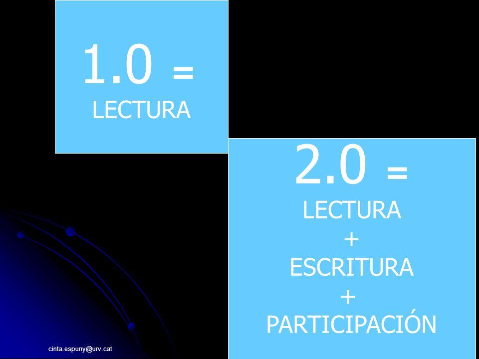 cinta.espuny@urv.cat 12 1.0 = LECTURA 2.0 = LECTURA + ESCRITURA + PARTICIPACIÓN