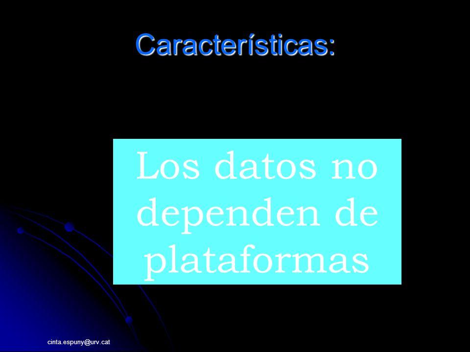 cinta.espuny@urv.cat Características: INFORMACI Los datos no dependen de plataformas