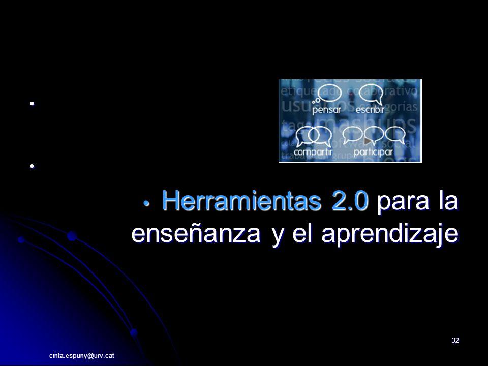 cinta.espuny@urv.cat 32 Herramientas 2.0 para la enseñanza y el aprendizaje Herramientas 2.0 para la enseñanza y el aprendizaje