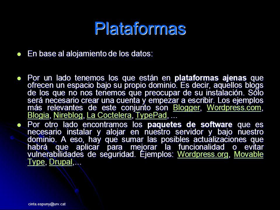 cinta.espuny@urv.cat Plataformas En base al alojamiento de los datos: En base al alojamiento de los datos: Por un lado tenemos los que están en plataformas ajenas que ofrecen un espacio bajo su propio dominio.