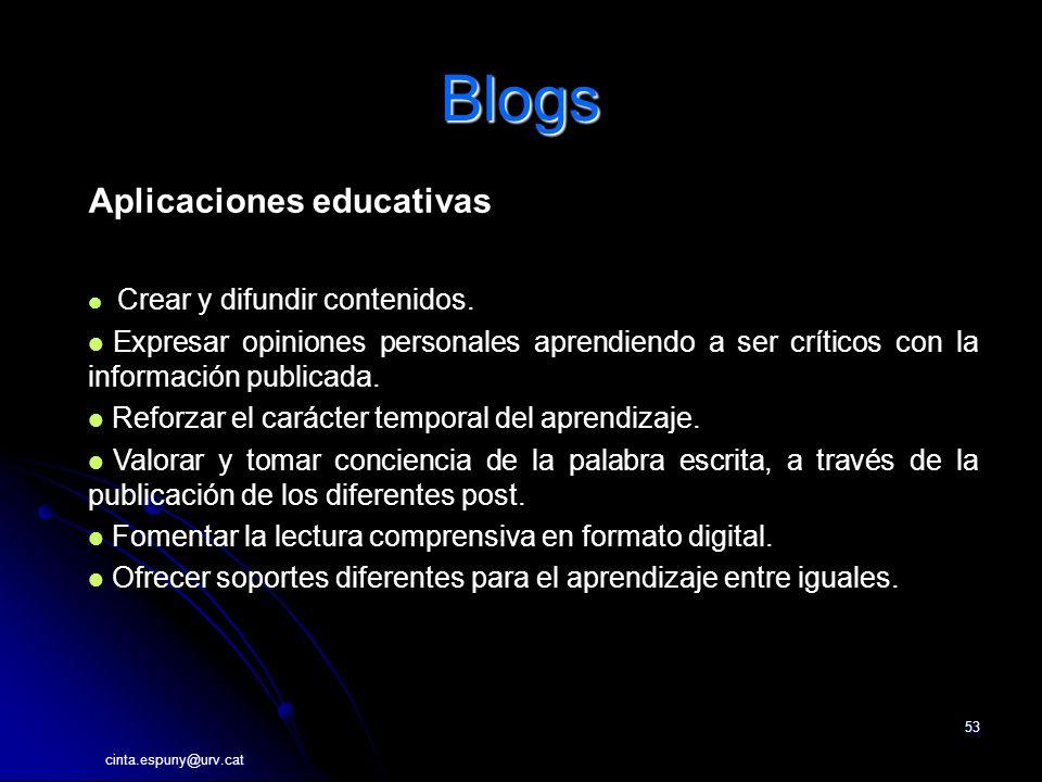 cinta.espuny@urv.cat 53 Blogs Aplicaciones educativas Crear y difundir contenidos.