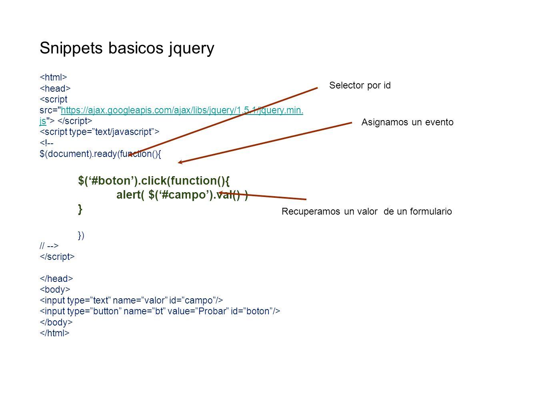 Snippets basicos jquery https://ajax.googleapis.com/ajax/libs/jquery/1.5.1/jquery.min. js <!-- $(document).ready(function(){ $(#boton).click(function(