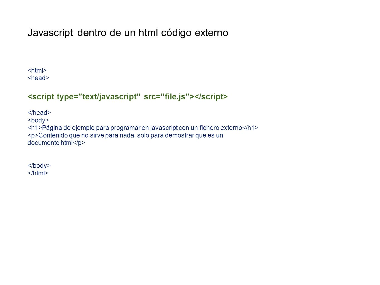 Plantilla para el uso de jquery https://ajax.googleapis.com/ajax/libs/jquery/1.5.1/jquery.min.js <!-- $(document).ready(function(){ alert(hola) }) // --> Página de ejemplo para programar en javascript Contenido que no sirve para nada, solo para demostrar que es un documento html