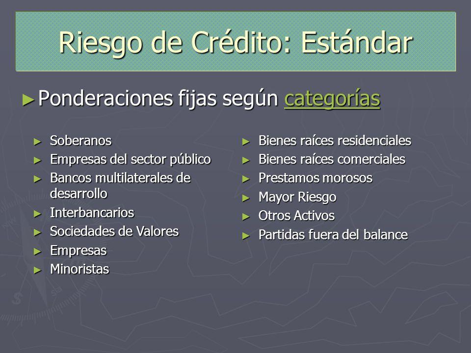Riesgo de Crédito: Estándar Ponderaciones fijas según categorías Ponderaciones fijas según categoríascategorías Soberanos Soberanos Empresas del secto