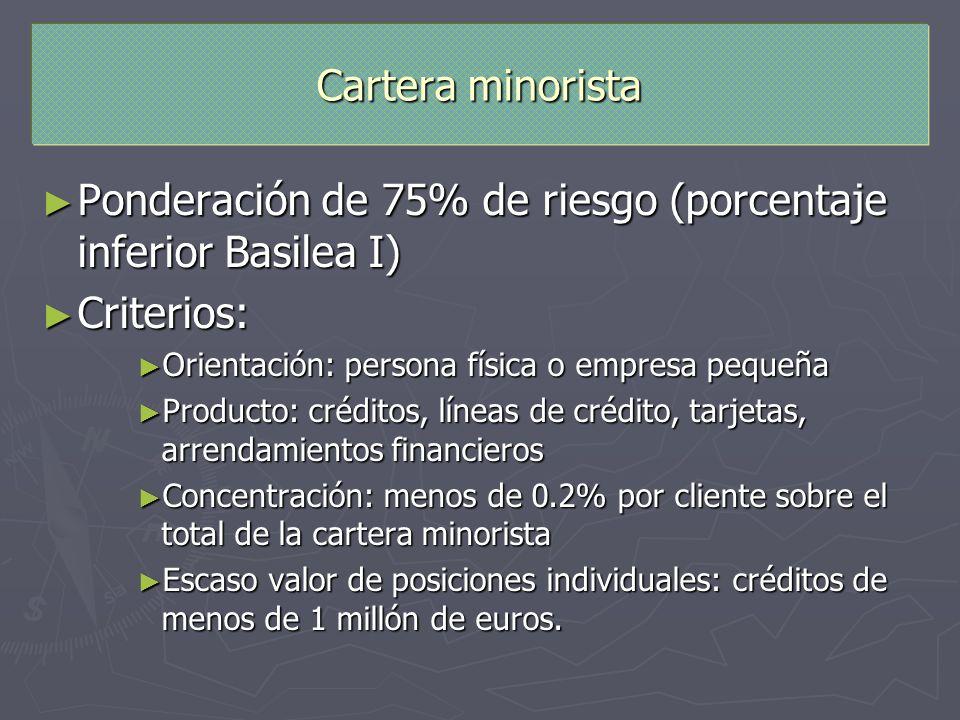 Cartera minorista Ponderación de 75% de riesgo (porcentaje inferior Basilea I) Ponderación de 75% de riesgo (porcentaje inferior Basilea I) Criterios: