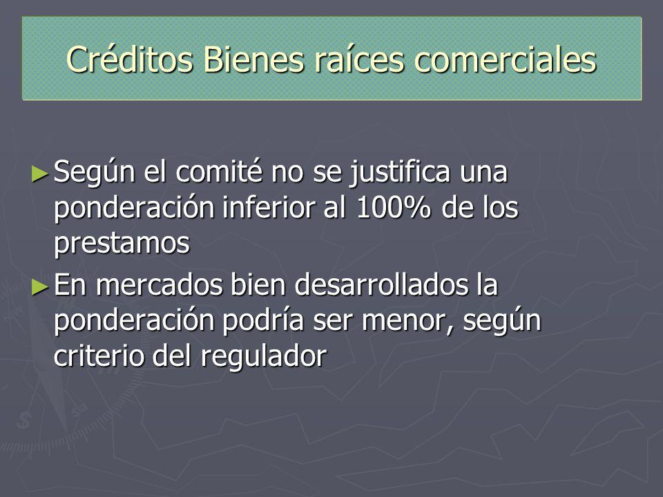 Créditos Bienes raíces comerciales Según el comité no se justifica una ponderación inferior al 100% de los prestamos Según el comité no se justifica u