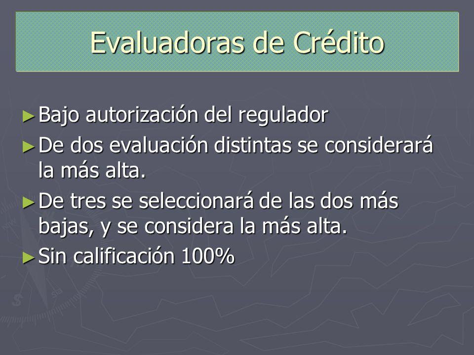 Evaluadoras de Crédito Bajo autorización del regulador Bajo autorización del regulador De dos evaluación distintas se considerará la más alta. De dos