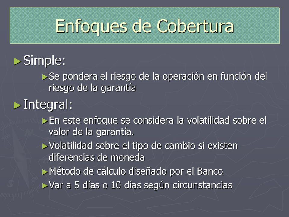 Enfoques de Cobertura Simple: Simple: Se pondera el riesgo de la operación en función del riesgo de la garantía Se pondera el riesgo de la operación e