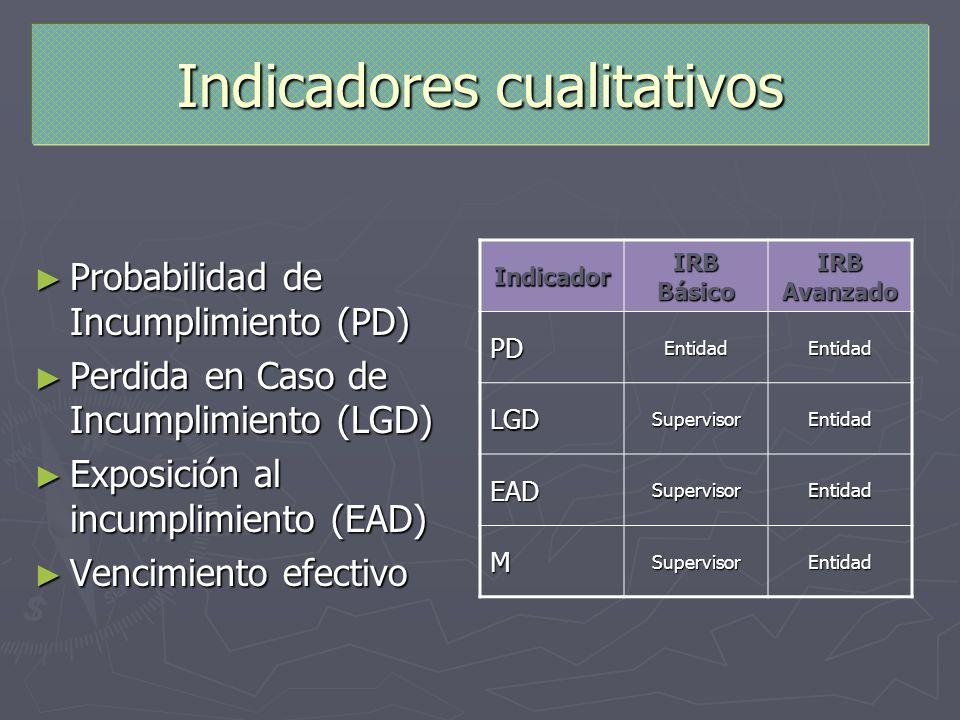 Indicadores cualitativos Probabilidad de Incumplimiento (PD) Probabilidad de Incumplimiento (PD) Perdida en Caso de Incumplimiento (LGD) Perdida en Ca