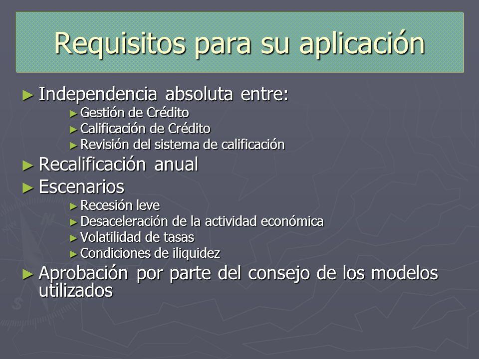 Requisitos para su aplicación Independencia absoluta entre: Independencia absoluta entre: Gestión de Crédito Gestión de Crédito Calificación de Crédit