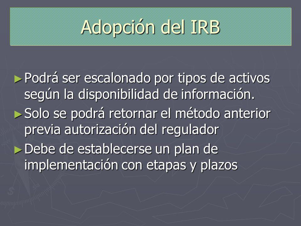Adopción del IRB Podrá ser escalonado por tipos de activos según la disponibilidad de información. Podrá ser escalonado por tipos de activos según la