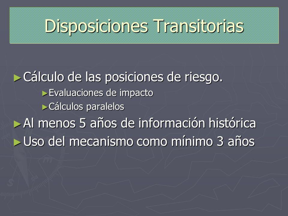 Disposiciones Transitorias Cálculo de las posiciones de riesgo. Cálculo de las posiciones de riesgo. Evaluaciones de impacto Evaluaciones de impacto C