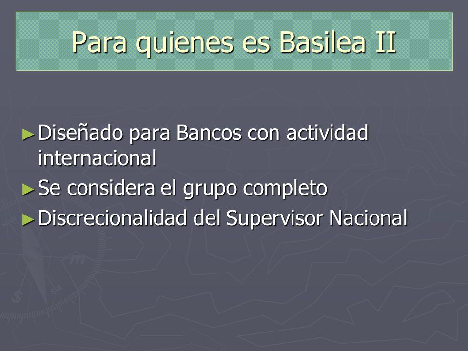 Para quienes es Basilea II Diseñado para Bancos con actividad internacional Diseñado para Bancos con actividad internacional Se considera el grupo com