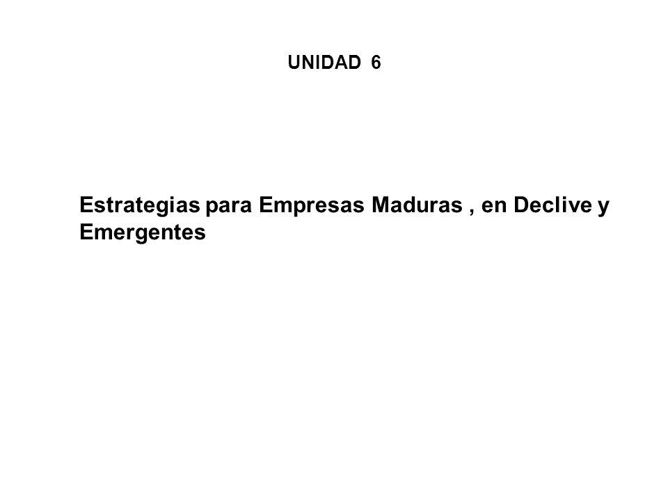 Estrategias para Empresas Maduras, en Declive y Emergentes