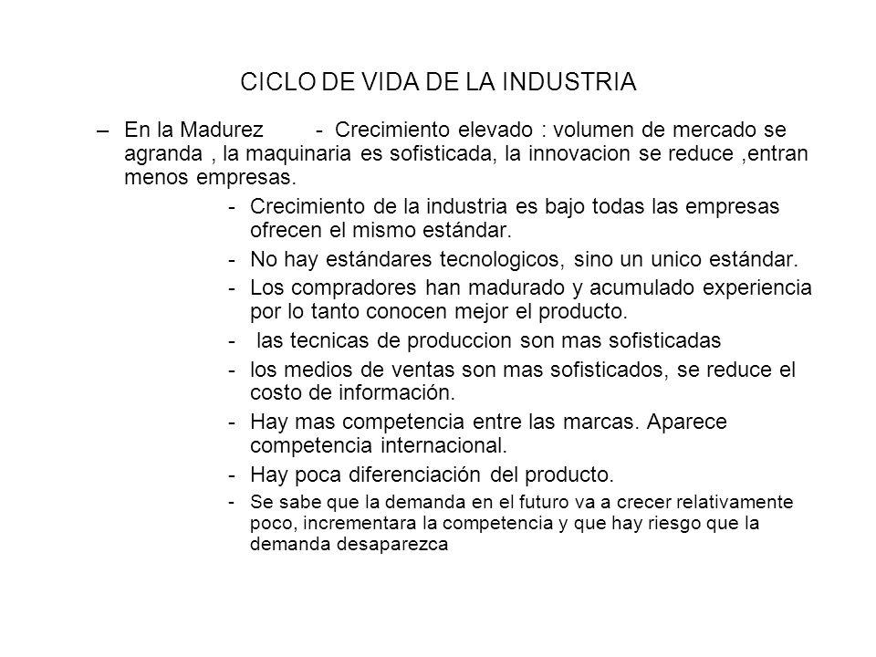 CICLO DE VIDA DE LA INDUSTRIA –En la Madurez- Crecimiento elevado : volumen de mercado se agranda, la maquinaria es sofisticada, la innovacion se reduce,entran menos empresas.