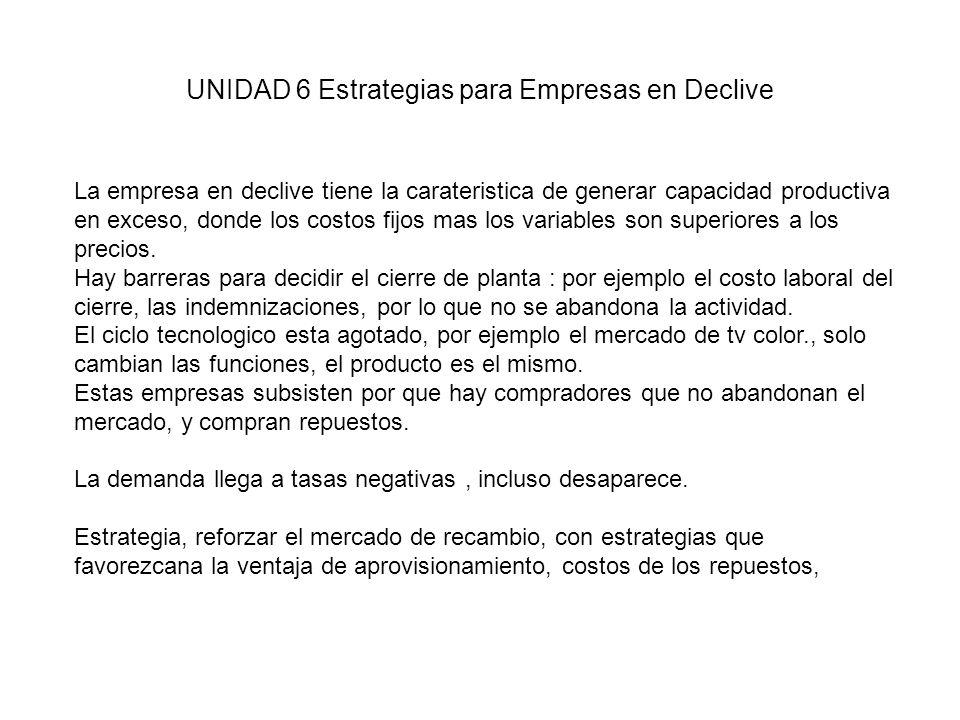 UNIDAD 6 Estrategias para Empresas en Declive La empresa en declive tiene la carateristica de generar capacidad productiva en exceso, donde los costos fijos mas los variables son superiores a los precios.