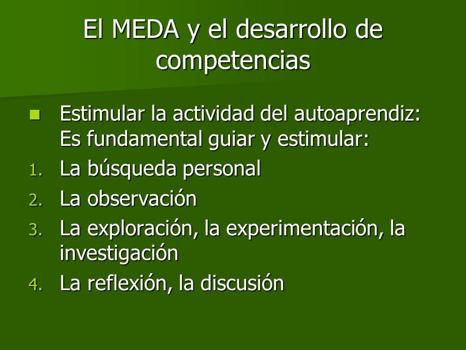 El MEDA y el desarrollo de competencias Estimular la actividad del autoaprendiz: Es fundamental guiar y estimular: Estimular la actividad del autoapre
