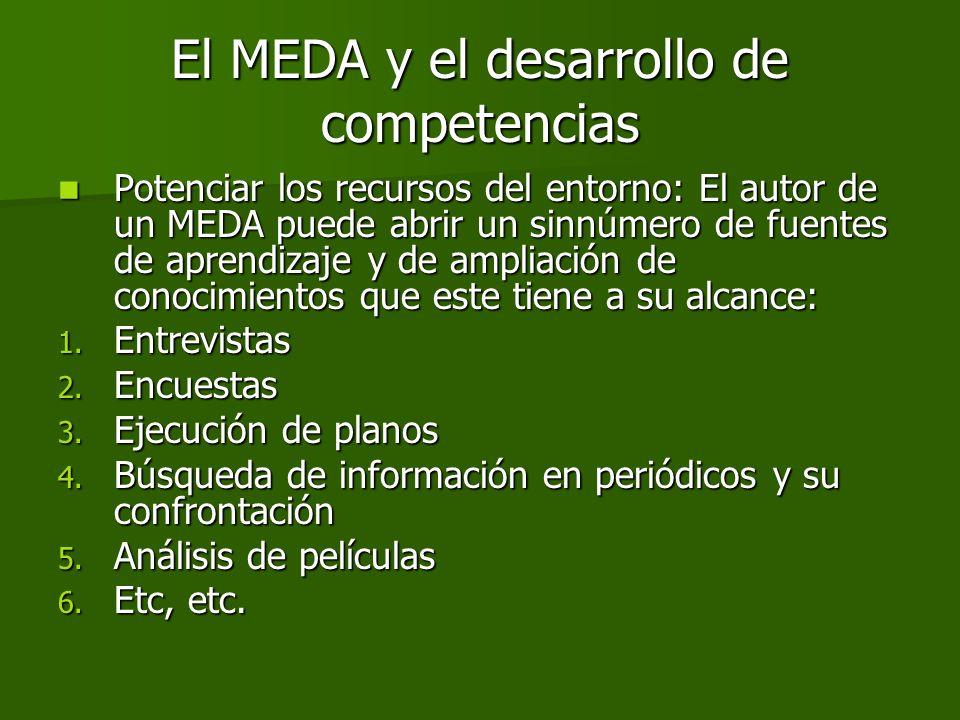 Potenciar los recursos del entorno: El autor de un MEDA puede abrir un sinnúmero de fuentes de aprendizaje y de ampliación de conocimientos que este t