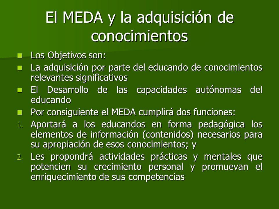 El MEDA y la adquisición de conocimientos Los Objetivos son: Los Objetivos son: La adquisición por parte del educando de conocimientos relevantes sign