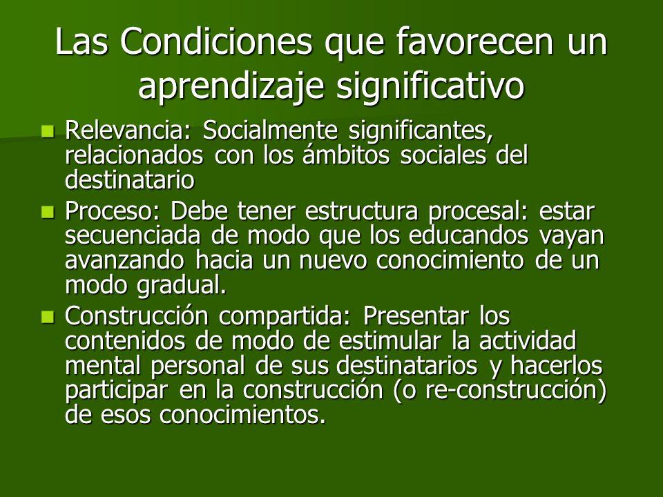 Las Condiciones que favorecen un aprendizaje significativo Relevancia: Socialmente significantes, relacionados con los ámbitos sociales del destinatar