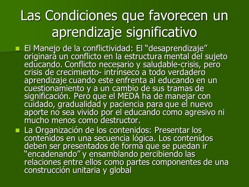 El Manejo de la conflictividad: El desaprendizaje originará un conflicto en la estructura mental del sujeto educando. Conflicto necesario y saludable-