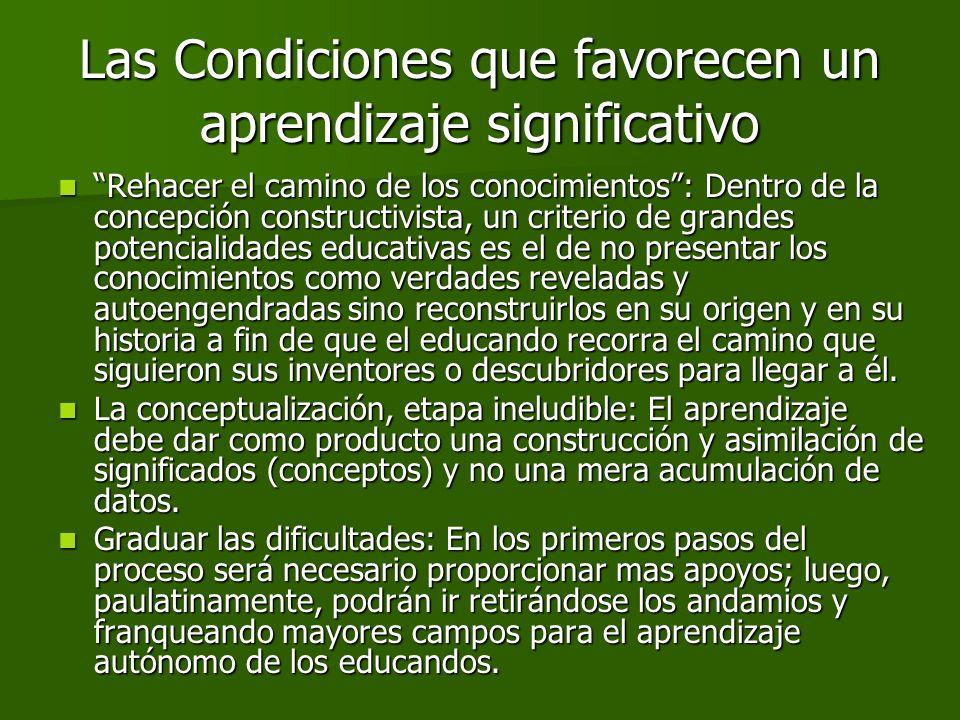 Rehacer el camino de los conocimientos: Dentro de la concepción constructivista, un criterio de grandes potencialidades educativas es el de no present