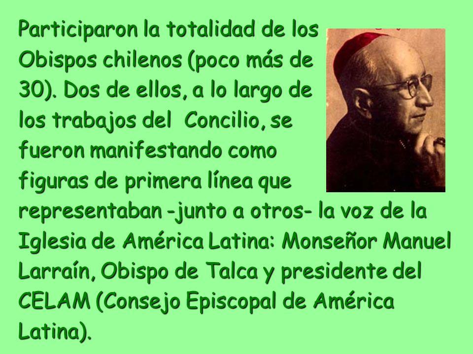 Participaron la totalidad de los Obispos chilenos (poco más de 30). Dos de ellos, a lo largo de los trabajos del Concilio, se fueron manifestando como