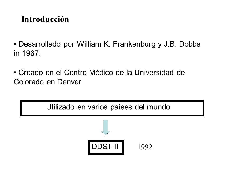 Desarrollado por William K. Frankenburg y J.B. Dobbs in 1967. Creado en el Centro Médico de la Universidad de Colorado en Denver Utilizado en varios p