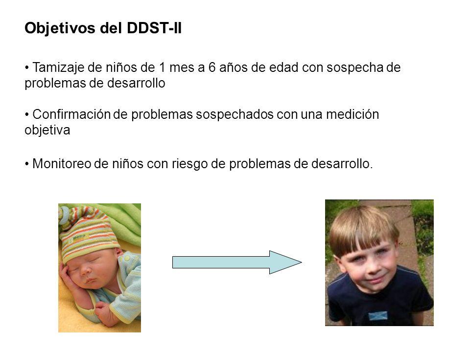 Objetivos del DDST-II Tamizaje de niños de 1 mes a 6 años de edad con sospecha de problemas de desarrollo Confirmación de problemas sospechados con un