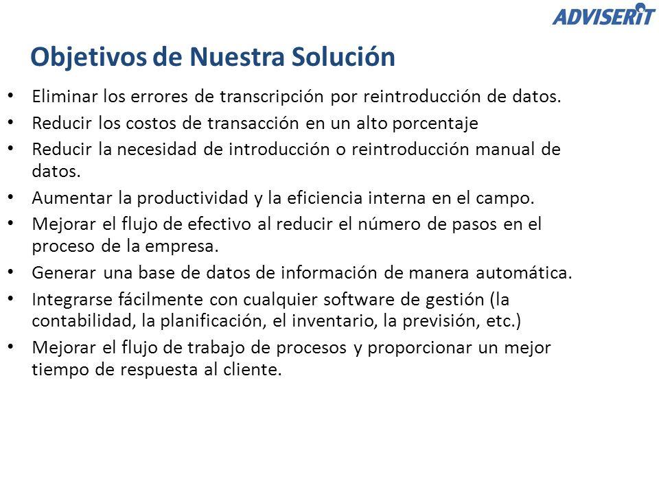 Objetivos de Nuestra Solución Eliminar los errores de transcripción por reintroducción de datos. Reducir los costos de transacción en un alto porcenta