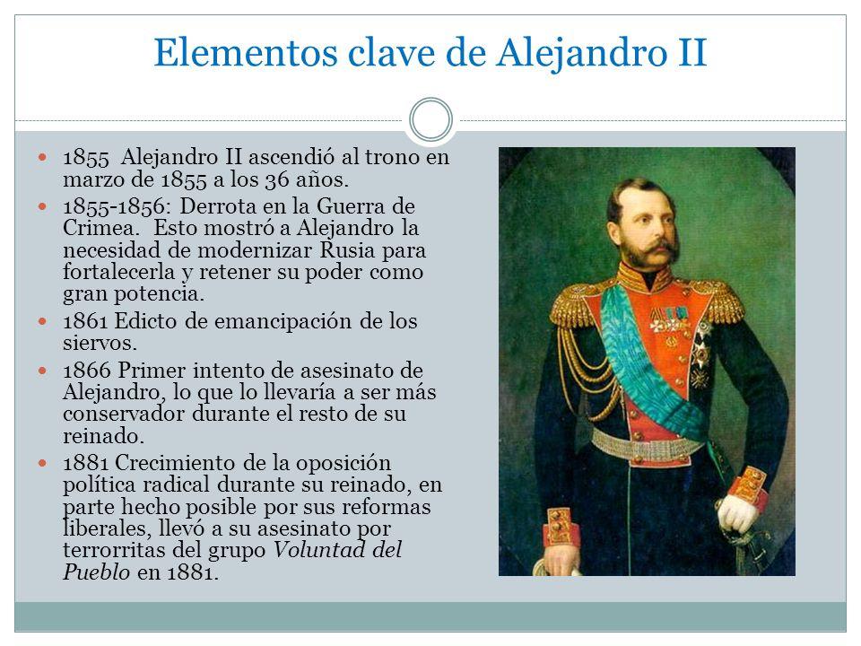 Elementos clave de Alejandro II 1855 Alejandro II ascendió al trono en marzo de 1855 a los 36 años. 1855-1856: Derrota en la Guerra de Crimea. Esto mo