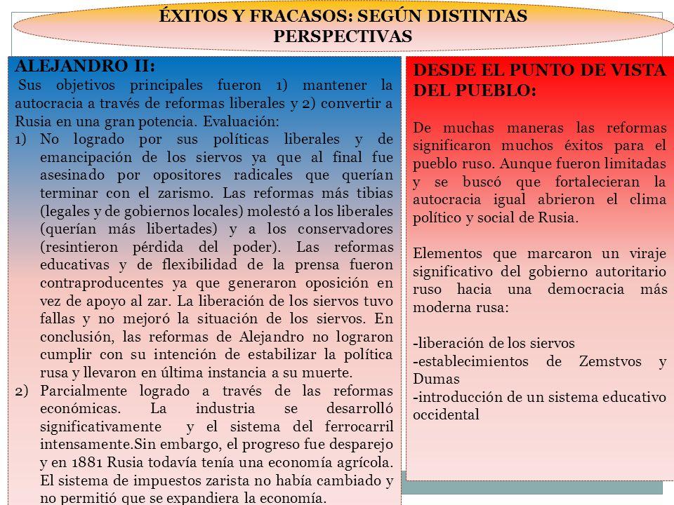 ÉXITOS Y FRACASOS: SEGÚN DISTINTAS PERSPECTIVAS ALEJANDRO II: Sus objetivos principales fueron 1) mantener la autocracia a través de reformas liberale