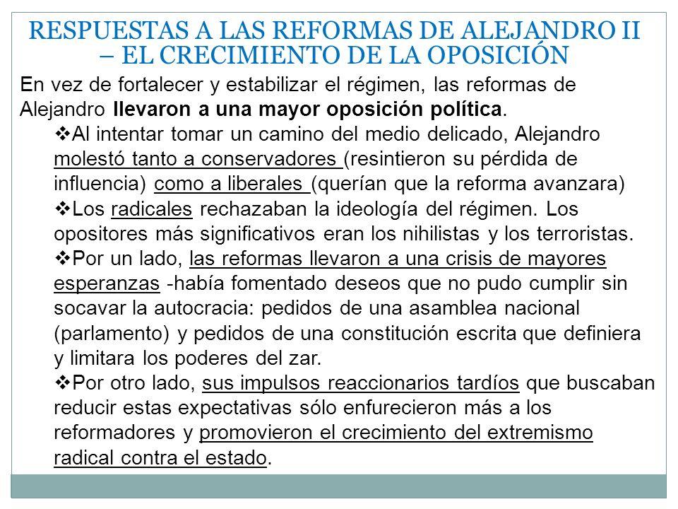 RESPUESTAS A LAS REFORMAS DE ALEJANDRO II – EL CRECIMIENTO DE LA OPOSICIÓN En vez de fortalecer y estabilizar el régimen, las reformas de Alejandro ll